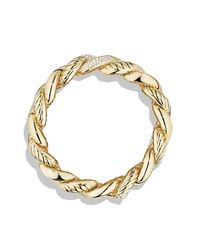 David Yurman | Metallic Belmont Curb Link Bracelet With Diamonds In 18k Gold, 18mm | Lyst