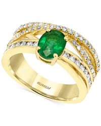 Effy Collection | Metallic Brasilica By Emerald (1-1/10 Ct. T.w.) And Diamond (1/2 Ct. T.w.) Ring In 14k Gold | Lyst