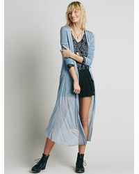 Free People - Blue Long And Lean Cardigan - Lyst