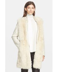 Vince | Natural Long Shearling Bomber Coat | Lyst