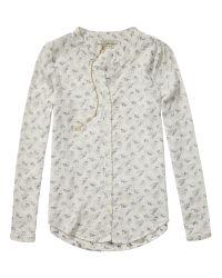 Maison Scotch White Floral Textured Tunic Blouse