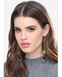 Bebe - Gray Arrow Long Earrings - Lyst