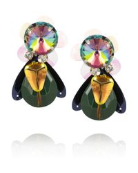 Tory Burch - Multicolor Goldtone Crystal Beetle Earrings - Lyst
