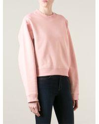 Acne Studios Pink Bird Fl Cotton-Blend Sweatshirt