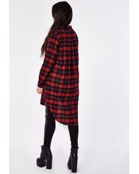 Missguided - Red Plus Size Checked Maxi Shirt - Lyst