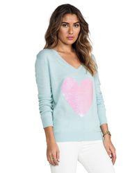 Wildfox | Green Brigittes Heart Sweater in Mint | Lyst