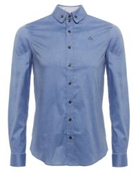 Vivienne Westwood - Blue Two Button Orb Twill Shirt for Men - Lyst