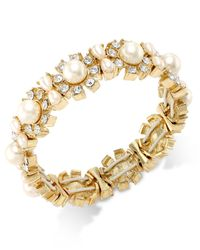 Charter Club | Metallic Gold-tone Imitation Pearl And Crystal Studded Stretch Bracelet, Only At Macy's | Lyst
