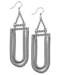Guess - Metallic Hematite-tone Crystal Two-row Loop Earrings - Lyst