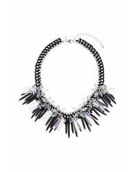 TOPSHOP | Black Flower Spike Necklace | Lyst