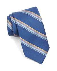 Ted Baker | Blue 'seashore Stripe' Silk & Cotton Tie for Men | Lyst