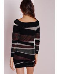 Missguided | Slashed Off Shoulder Mini Dress Black | Lyst