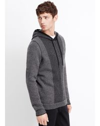 Vince Black Wool Cashmere Engineered Stitch Hoodie Sweater for men
