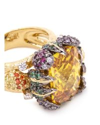 Anabela Chan - Metallic 'tangerine' 18k Gold Solitaire Topaz Cocktail Ring - Lyst