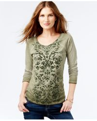 INC International Concepts | Green Three-quarter-sleeve Printed Top | Lyst
