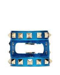 Valentino - Blue Rockstud Cutout Metallic Leather Bracelet - Lyst