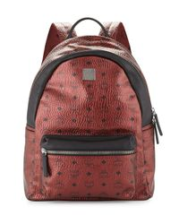 MCM - Red Stark No Stud Coated Canvas Medium Backpack for Men - Lyst