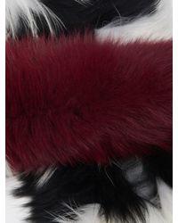 Charlotte Simone Black Popsicle Striped Fur Scarf
