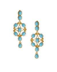 Kenneth Jay Lane Blue Stone Ornate Drop Earrings