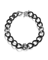 John Hardy | Black Dragon Station Necklace On Large Chain Link | Lyst