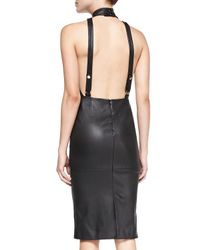 Tamara Mellon Black Fitted Leather Halter Dress With Open Back