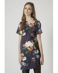 TOPSHOP Multicolor Maternity Blur Rose Print Satin A-Line Dress