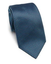 Armani - Blue Bricks Silk Tie for Men - Lyst
