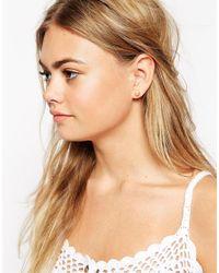 ASOS Metallic Faux Pearl Double Earrings