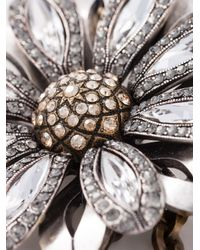 Lanvin Gray Flower Choker Necklace