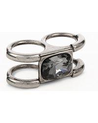Alexander McQueen | Metallic Double Ring With Jewel - For Women | Lyst