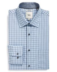 W.r.k. - Blue Extra Trim Fit Check Dress Shirt for Men - Lyst