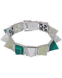Eddie Borgo Metallic Silver-plated Gemstone Pyramid Bracelet