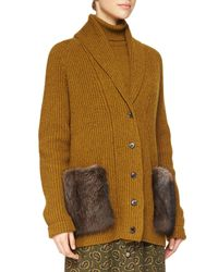 Michael Kors - Brown Fur-pocket Cashmere Long Cardigan - Lyst
