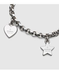 Gucci - Metallic Sterling Silver Charm Bracelet - Lyst