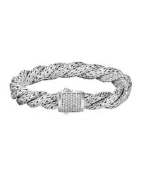 John Hardy - Metallic Classic Chain Twisted Diamond Bracelet - Lyst