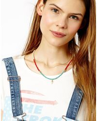 ASOS - Blue Limited Edition Spear Bead Necklace - Lyst