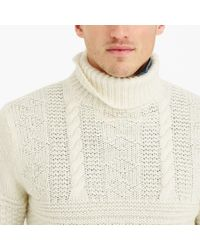 J.Crew | White Wool Guernsey Turtleneck Sweater for Men | Lyst