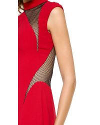 Reem Acra Red Mesh Trimmed Column Gown