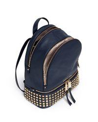 Michael Kors Blue 'rhea' Small Stud Leather Backpack