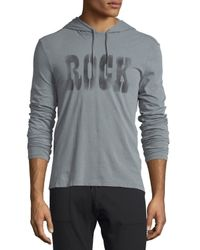 John Varvatos | Gray Faded Graphic Long-sleeve Pullover Hoodie for Men | Lyst