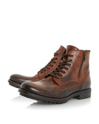 Dune Brown Calabash Padded Cuff Leather Lace Boots for men