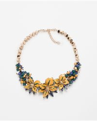 Zara | Blue Floral Crystal Necklace | Lyst