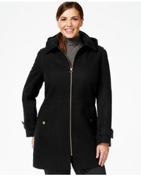 Michael Kors | Black Michael Plus Hooded Zip-front Peacoat | Lyst