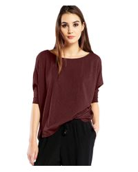 Michael Stars | Brown Supima Cotton Wide Neck Dolman Tee | Lyst