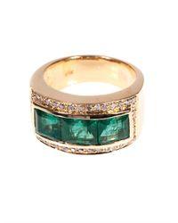 Jade Jagger - Green Diamond, Emerald & Yellow-Gold Ring - Lyst
