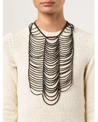 Brunello Cucinelli | Black Beaded Breast Plate Necklace | Lyst