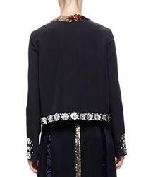 Lanvin - Black Sequin-Trimmed Faille Jacket - Lyst
