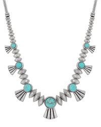 Lucky Brand | Metallic Silvertone Turquoise Bird Necklace | Lyst