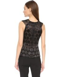 Yigal Azrouël - Black Plunging Lace Front Top - Lyst