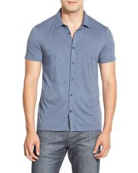 John Varvatos - Blue 'luxe' Slim Fit Knit Sport Shirt for Men - Lyst